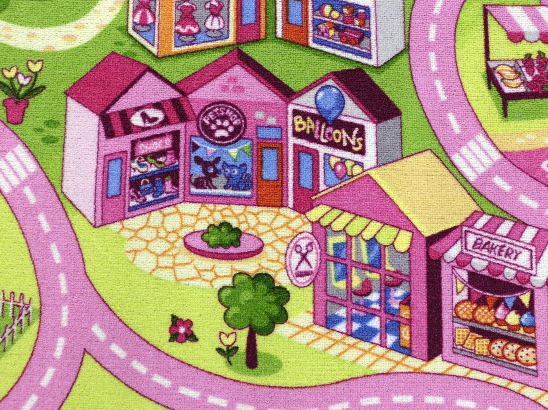 sweet town hevo kinderteppich spielteppich 400x400 cm xxl 100 polyamid ebay. Black Bedroom Furniture Sets. Home Design Ideas