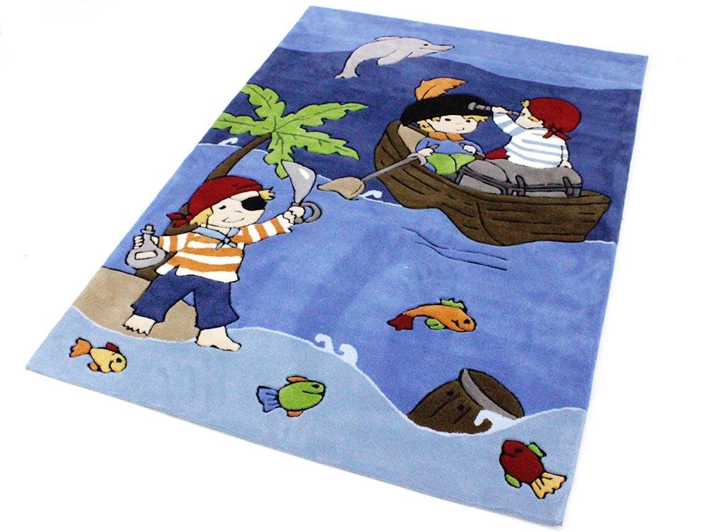 Kinderteppich blau  Pirat / Piraten Handtuft Kinderteppich / Spielteppich blau ÖkoTex ...