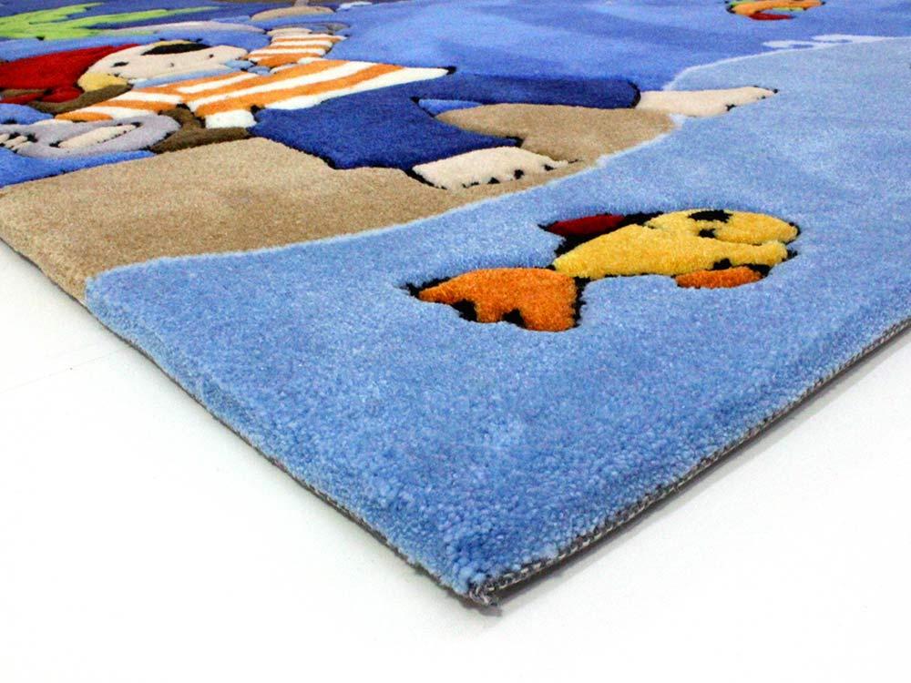 Pirat  Piraten Handtuft Kinderteppich  Spielteppich blau