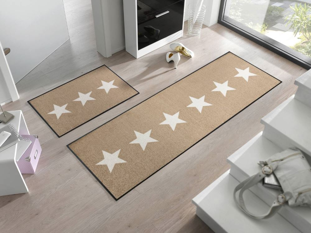 Wash+Dry Decor Fußmatte Stars sand