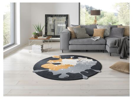 Wash+Dry Decor Fußmatte Circle Blob black| Ø 150 cm Rund