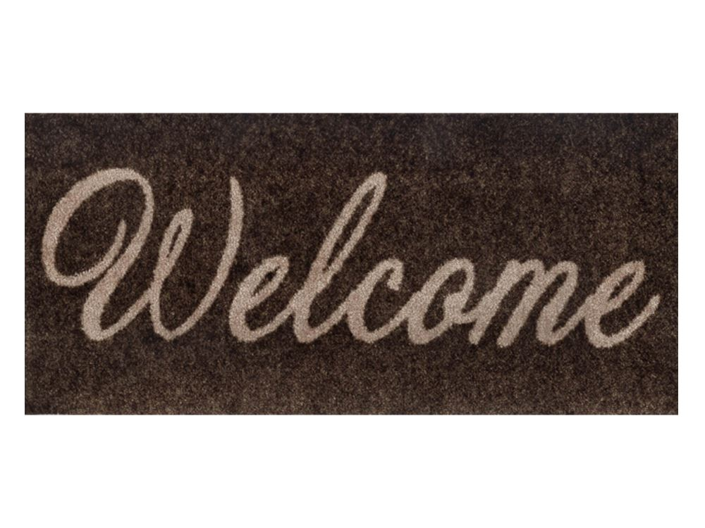 Wash+Dry Decor Fußmatte Welcome brown | 30x70 cm